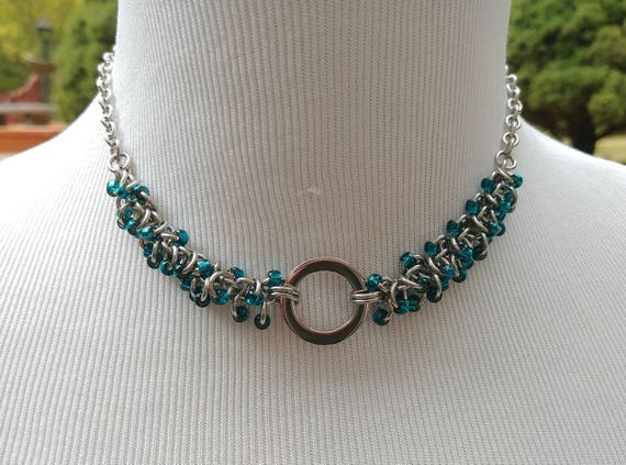 24/7 Wear Discreet Symbolic O Ring Day Collar Necklace, Submissive Slave Collar, DDLG, Stainless Steel with Teal Beaded Shaggy Loops