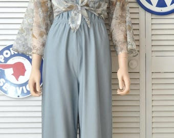 Vintage Womens Pantsuit 70s 80s One Piece Strapless Jumpsuit Sheer Matching Shrug Disco Dressy Onesie Elastic Costume Slate Blue Small-Med