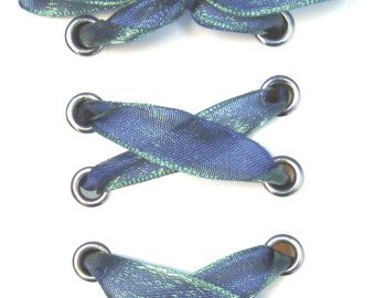 "THE SHOELACES SHOP-Blue Green Iridescent Shoelaces, Ribbon Shoelaces, Blue Shoe Laces, Green Shoelaces, Custom, ""Mind Your Greens & Blues"""