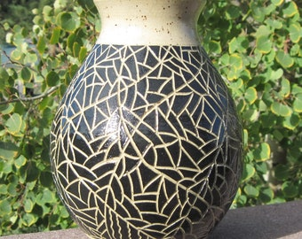 Vase in Black and Tan - Think it Over - Hand Carved and Handmade Pottery