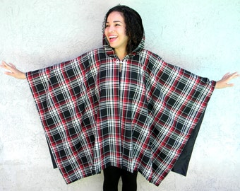 90s Hooded Poncho - Vintage 90s Black, White, and Red Plaid Poncho Wrap Cape w Frog Clasp - One Size Fits All - Dramatic Hood