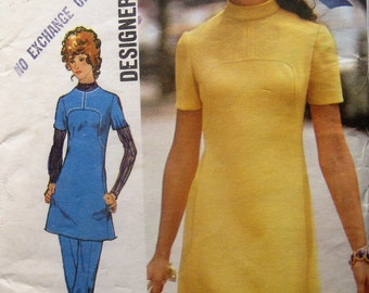 Simplicity 9761 designer fashion size 12 bust 34 shaped bodice dress or tunic with pockets and trousers