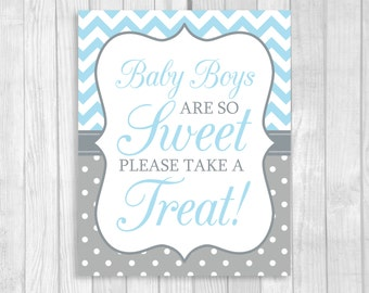 Baby Boys Are So Sweet Please Take A Treat 5x7 or 8x10 Printable Baby Shower Dessert Candy Table Sign - Light Blue Chevron & Gray Polka Dots
