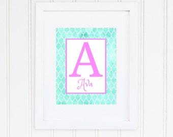 Monogram Name Print, Girls Bedroom Decor, Personalized Name Sign, Initial Print, Gift for Girl, Digital Download, 8x10, Monogram, Name Art
