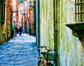 "24 x 36"" large art print - Narciso's World - Tuscany, Italy - Fine art travel photography - olive, blue, terracotta"