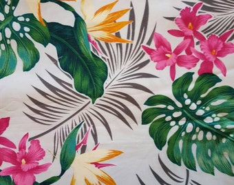 Hawaiian fabric, tropical fabric,  orchids, bird of paradise, monstera leaves and ferns, fabric fat quarter