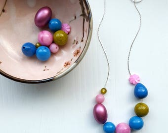 harajuku necklace - vintage remixed lucite - bold color - pink, blue, olive, green - floral, metallic