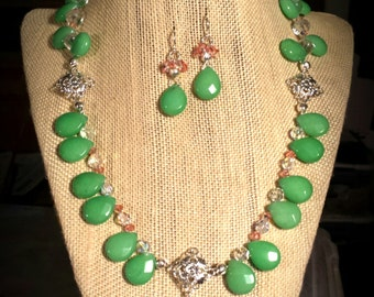 Light Green Jade Teardrops, Pale Pink Peach & Iridescent Swarovski Crystals, Czech Glass on 17 Inch Necklace with Earrings