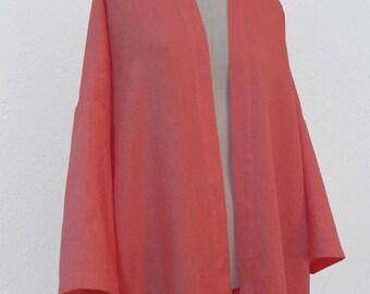 Pink linen kimono