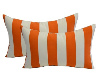 SET OF 2 - Indoor / Outdoor Rectangle / Lumbar Decorative Throw Pillows - Preppy Orange & White Stripe