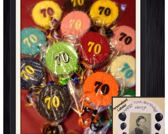 Set of 12 70th birthday or anniversary customized chocolate lollipop favors 30th 40th 50th 60th also available