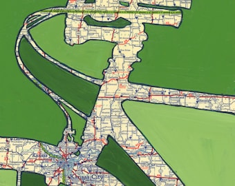 Kansas City - small print - featuring Independence, Wyandotte,  Missouri, Kansas bicycle art print, bike art, vintage map art