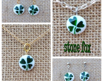 Lucky Shamrock Pendant Necklace & Earrings in Silver or Gold Tone Finish