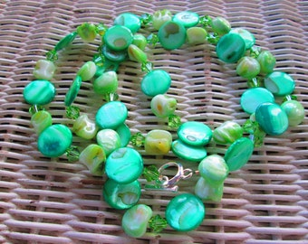 501  Green shell, mother of pearl, Swarovski crystal handmade beaded necklace