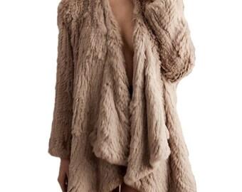 Rabbit Fur Jacket, Genuine Fur Coat, Brand New, Camel Rabbit Fur Jacket called Klara