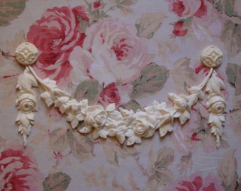 Shabby and Chic Rose Swag Rose Drops Rosettes Set Furniture Appliques Architectural Onlay Pediment