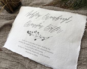 WEDDING INVITATIONS Set #316 (Organic Wedding Invitations, Earthy Wedding, Elegant, Classic, Deckled Edge Paper)