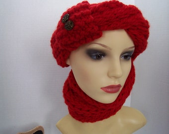 SET scarf, headband and tuque (with fingers) (red) # 501 #501-1 #501-2