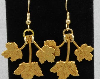Handmade  Earrings Three Maple Leaf Russian Gold Earrings On Gold  Beaded Niobium Earwires Oscarcrow