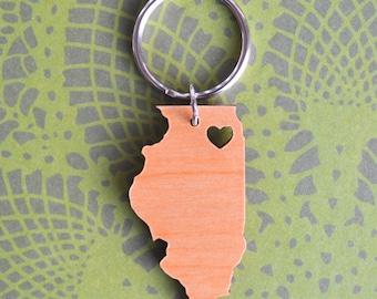 Chicago, Illinois Wood Love Key Ring