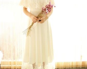 ivory vintage lace silk boho wedding dress