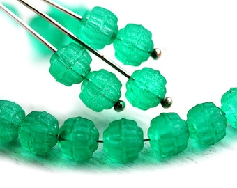 Matte Teal Green beads Czech glass cathedral round beads, fire polished, coated pressed beads - 6mm - 25Pc - 1345