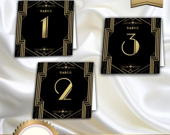 Great Gatsby Art Deco Table Cards 1-20, Table Numbers, Table Decoration, 1920's, 20's, Roaring Twenties, Black and Gold - Instant Download