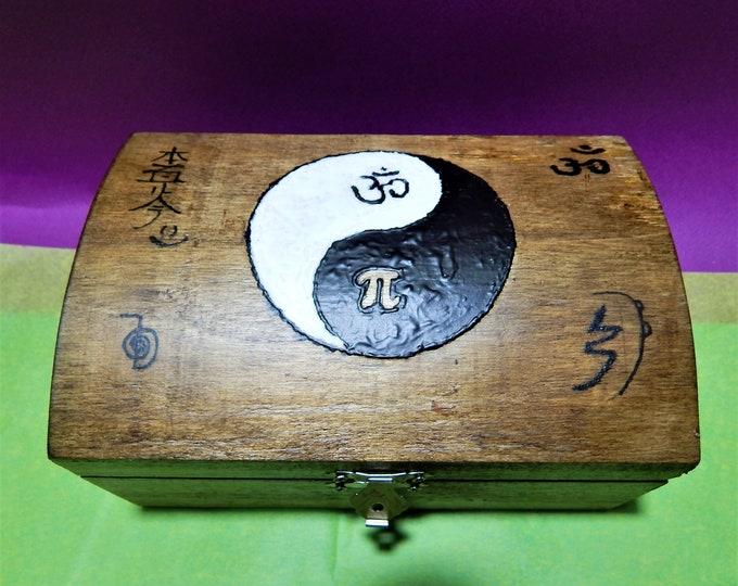 Yin yang handpaint wooden box, Meditation And Healing Box ,reiki box, healing box,chakra box,crystal box,keepsake box