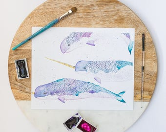 Narwhal print watercolour-whale lover gift-arctic animals-unicorn of the sea-kids room decor-baby shower gift-whale art-save the whales