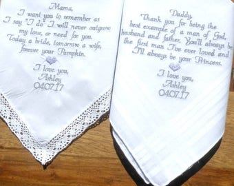 Embroidered Wedding Handkerchiefs Custom Personalized Wedding Gift embroidered hankerchief Set of Two in your own words By Canyon Embroidery