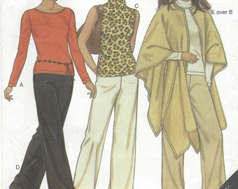 90s Womens Pullover Tops, Pants and Cape New Look Sewing Pattern 6008 Size 10 12 14 16 18 20 22 Bust 32 1/2 to 44 UnCut
