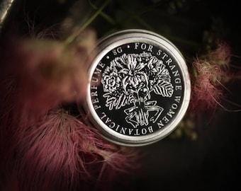 Mimosa + Iris - natural solid perfume - powdery floral perfume, iris perfume, spring, victorian, mimosa flower, creamy light perfume
