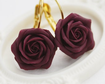 Handmade tyrian purple rose earrings, Dark rose, Gift for women, Gift for her, floral earrings, Noble roses, Dark floral earrings, cute