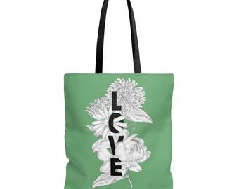 Green Floral Love Tote Bag