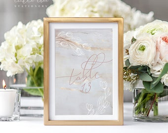 Table Number Cards - Elegant Blossom (Style 13808)