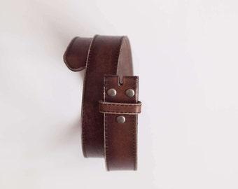 Leather Snap Belt Distressed Leather Snap Belt BROWN Snap on Belt Leather Belt Belt Strap for Buckle 1.5 Inch Wide Belt Jeans Belt
