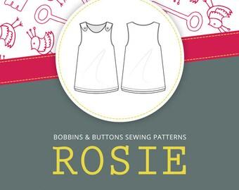 Dressmaking pattern - Rosie - Pinafore dress - reversible or single sided - age 1 - 10 years - pdf download version.