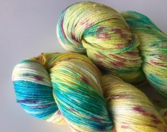 Hand dyed super wash Merino and bamboo sock yarn 'Springtime'