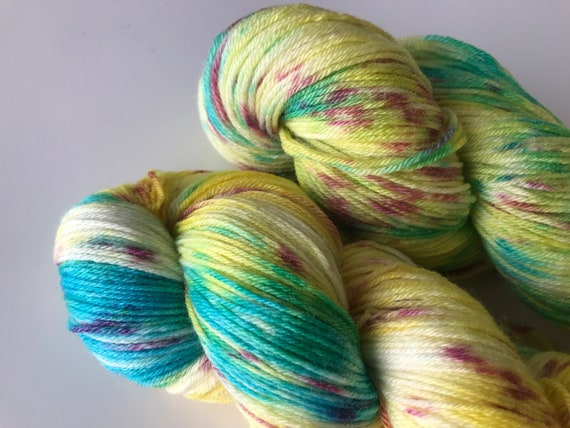 Hand dyed super wash Merino and bamboo sock yarn 'Springtime'
