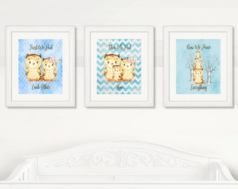 OWLS Nursery Wall Art, Owls Baby Boy Nursery WALL ART, Blue Background, Boy Wall Art, Digital Printable, Instant Download, Owls