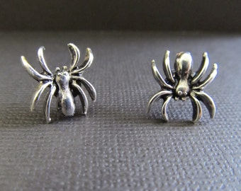 Silver Spider Stud Earrings Halloween stud earrings, Spooky earrings,