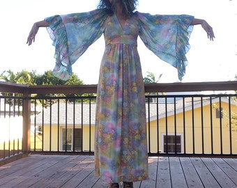 Ethereal Floral Butterfly Sleeve Maxi Dress