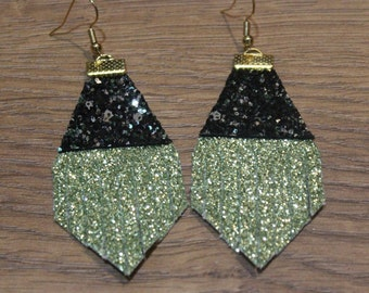 Holiday Titan Leather Earrings - Chartreuse Glitter and Black Glitter