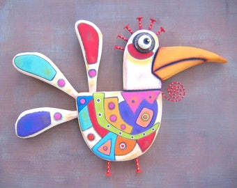 Wild Rooster, Original Found Object Wall Sculpture, Wood Carving, Chicken Wall Art, Abstract Art, by Fig Jam Studio