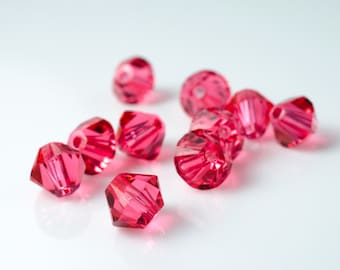 Padparadscha Bicone Crystal Beads