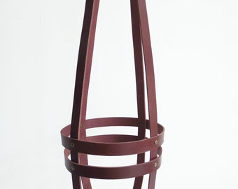 Hanging planter cognac leather, minimalist plant hanger, ceiling planter, vegetable tanned brown leather WITHOUT pot