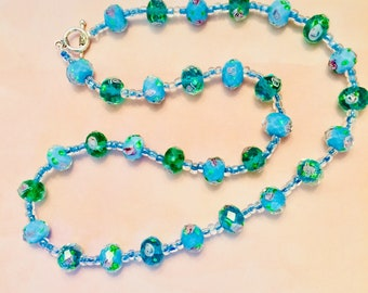 Glass Turquoise and Green Necklace