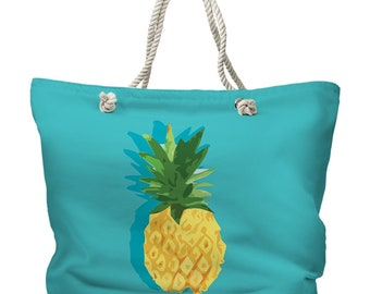 Summer Pineapple Tote Bag, Tropical Tote Bag, Island Carryall, Pineapple Beach Bag, Hawaiian Beach Bag, Island Resort Tote