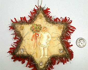 Vintage Victorian Christmas Decoration Ornament Up-cycled
