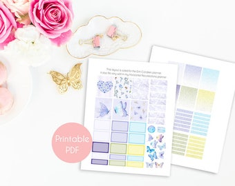 Printable Planner Stickers, Butterfly Planner Stickers, Kit Weekly Planner Stickers Butterfly Full Boxes, Erin Condren, Recollections